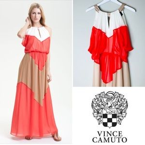 Vince Camuto Colorblock Chiffon Maxi Dress size 10